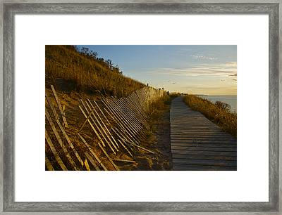 Boardwalk Overlook At Sunset Framed Print