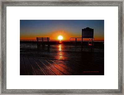 Boardwalk Sunrise Framed Print by Geraldine Scull