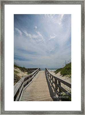 Boardwalk To The Beach Framed Print by Kay Pickens