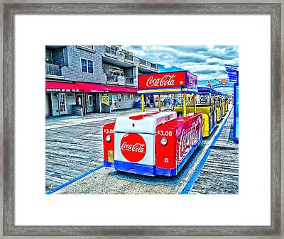 Boardwalk Tram  Framed Print