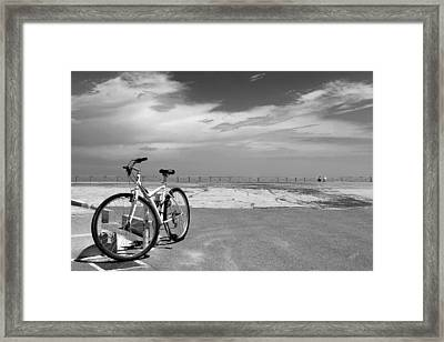 Boardwalk View With Bike In Antibes France Black And White Framed Print by Ben and Raisa Gertsberg