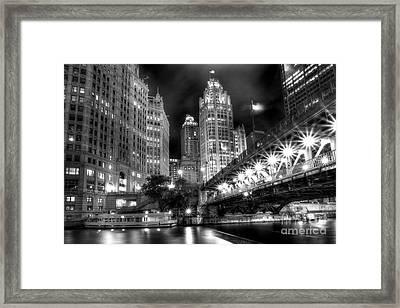 Boat Along The Chicago River Framed Print