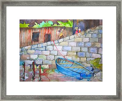 Boat Along The Wall Framed Print by Maya Simonson