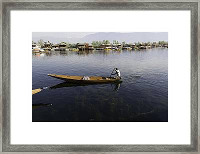 Boat Among The Weeds - Man Rowing His Boat In The Dal Lake Framed Print by Ashish Agarwal