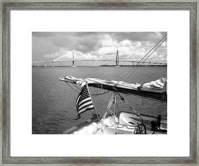 Framed Print featuring the photograph Boat And Charleston Bridge by Ellen Tully