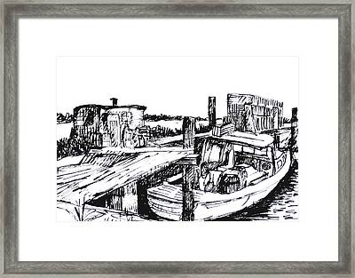 Boat And Lobster Traps Framed Print