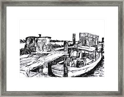 Boat And Lobster Traps Framed Print by Deborah Dendler