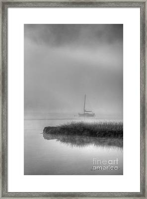 Boat And Morning Fog Framed Print