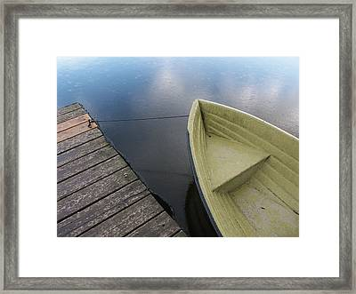 Boat And Wooden Pier - Quiet And Peaceful Scenery Framed Print by Matthias Hauser