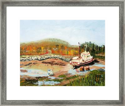 Boat At Bic Quebec Framed Print