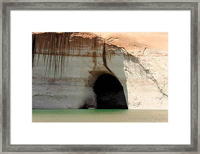 Boat At Cave Entrance Framed Print by Julie Niemela