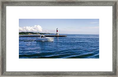 Framed Print featuring the photograph Boat At Holland Pier by Lars Lentz