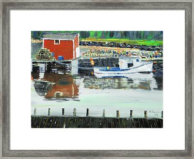Boat At Louisburg Ns Framed Print