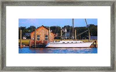 Boat At Shem Creek By Jan Marvin Framed Print