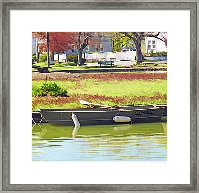 Boat At The Pond Framed Print by Barbara McDevitt