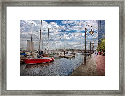 Boat - Baltimore Md - One Fine Day In Baltimore  Framed Print by Mike Savad