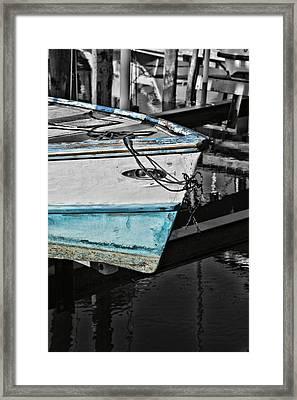 Boat Bow In Black White And Blue Framed Print by Lynn Jordan