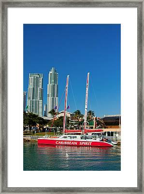 Boat By City Framed Print