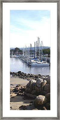 Boat Dock And Big Rocks Right Framed Print by Barbara Snyder