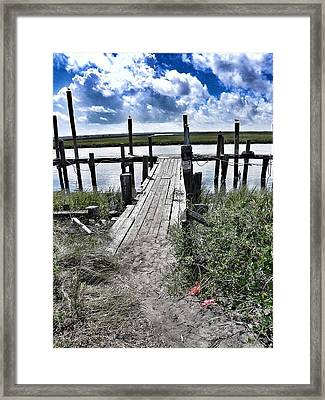 Boat Dock With Gulls Framed Print by Patricia Greer