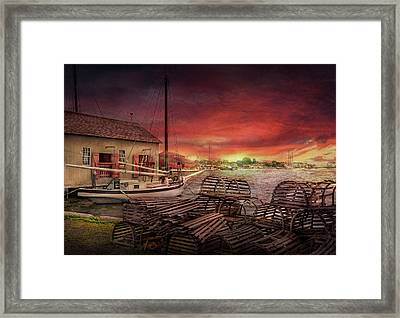 Boat - End Of The Season  Framed Print by Mike Savad