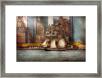 Boat - Governors Island Ny - Lower Manhattan Framed Print