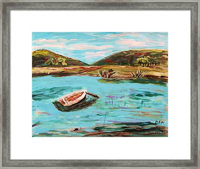 Boat Grasses And Red Wing Framed Print by Mary Carol Williams