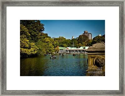 Boat House Central Park New York Framed Print by Amy Cicconi
