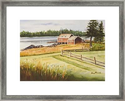 Boat House On Penobscot Bay Framed Print by Sheryl Bessette