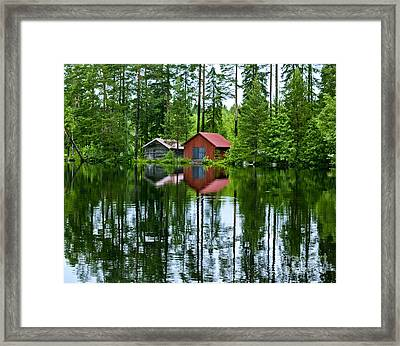 Boat House On Swedish Lake Framed Print