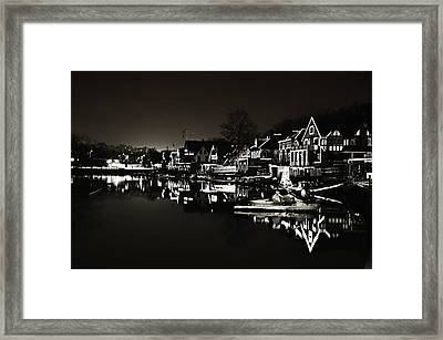 Boat House Row - In The Dark Of Night Framed Print by Bill Cannon