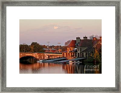 Boat Houses At Dawn Framed Print