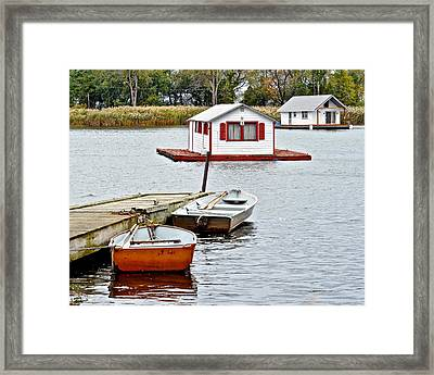 Boat Houses Framed Print by Frozen in Time Fine Art Photography
