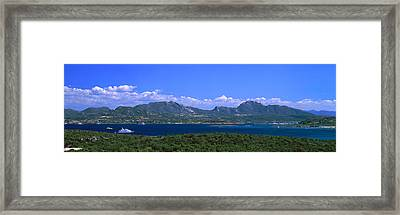 Boat In A Lake, Costa Smeralda Framed Print by Panoramic Images