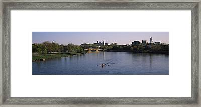 Boat In A River, Charles River, Boston Framed Print by Panoramic Images
