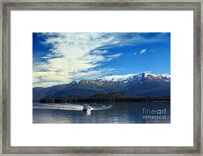 Boat In Alaska Fjord Framed Print