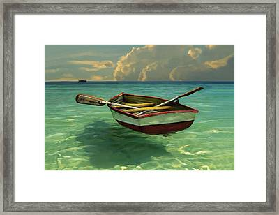 Boat In Clear Water Framed Print by David  Van Hulst