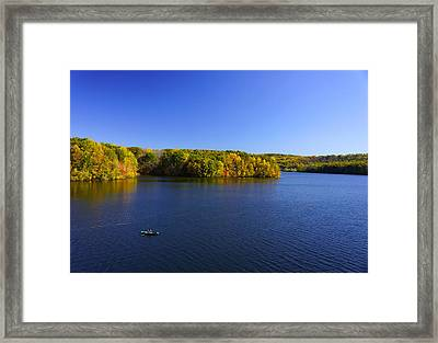 Framed Print featuring the photograph Boat In Croton Reservoir - Ny by Rafael Quirindongo
