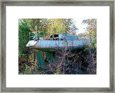 Framed Print featuring the photograph Boat In Dry Dock Forest by Larry Bishop