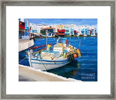 Boat In Greece Framed Print by Tim Gilliland