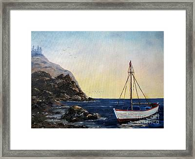 Boat In Maine Framed Print by Lee Piper