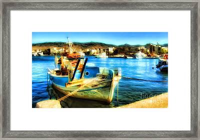 Boat In Marina Framed Print by Justyna JBJart