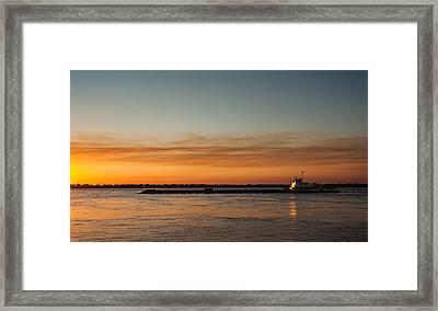 Boat In Sunset Framed Print by Carlos V Bidart