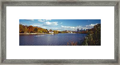 Boat In The River, Schuylkill River Framed Print by Panoramic Images