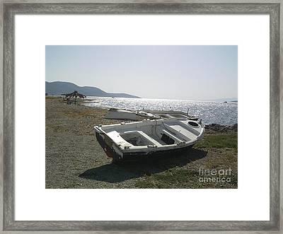 Boat On Alyki Beach Framed Print by Katerina Kostaki
