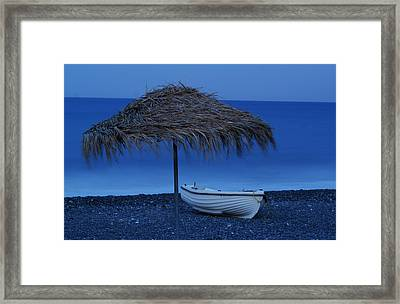 Boat On Beach Framed Print by Saul Moreno