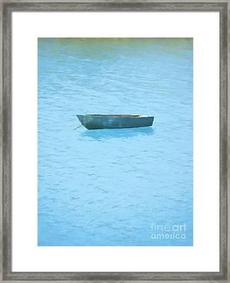 Boat On Blue Lake Framed Print by Pixel Chimp