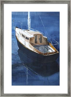 Boat On Blue Framed Print by Susan Crossman Buscho