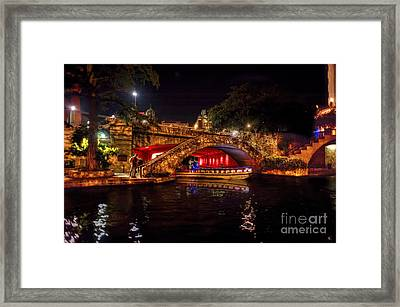 Boat On Canal Riverwalk San Antonio At Night Framed Print