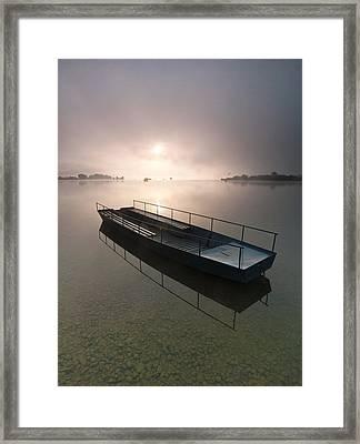 Boat On Foggy Lake Framed Print by Davorin Mance